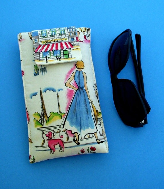 Sunglasses Case in a Design of French Women in Paris