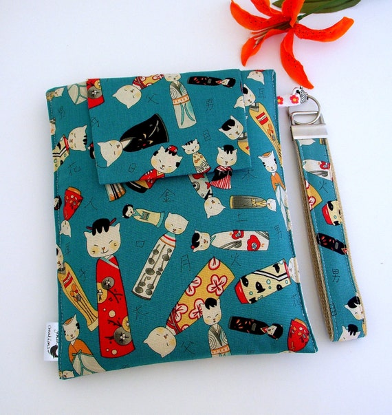 Kindle, Nook, Kobo, Sony Fabric Cover in a Japanese Design With Removable Key FOB Wristlet
