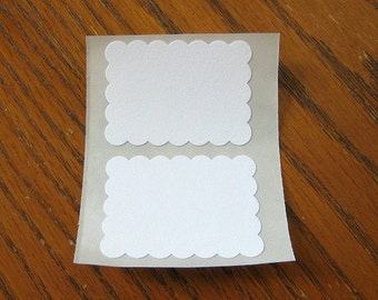 Blank Sticker Label White Scallop Rectangle