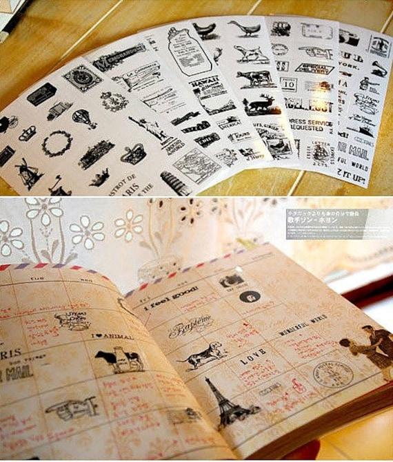 Travel Stamp Stickers Vintage Voyage