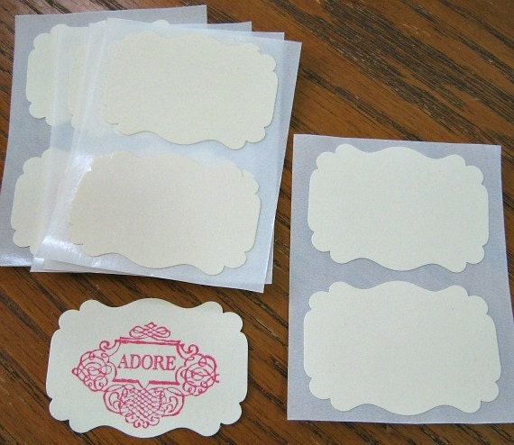 Ivory Sticker Label Cardstock Custom Flourish