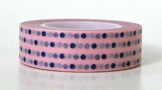 Washi Masking Tape Blue Polka Dot Pink
