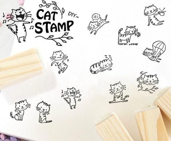 Stamp Rubber Cat Wood DIY