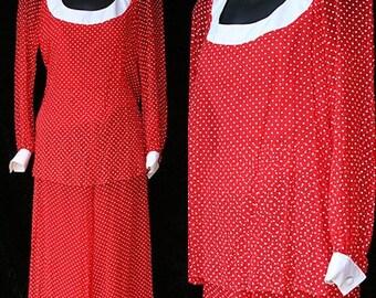 For Sale Vintage Eva Gabor Estevez Retro Hippie 70s 1970s Palazzo Pants Smocked Chiffon Pantsuit Dress Suit