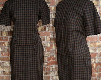Vintage 60s Dixie Deb Mad Men Plaid Wiggle Skirt Blouse Day Suit Dress