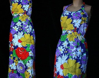 Vintage Tori Richards Honolulu Hawaiian Floral Summer Halter Sundress Empire Hippie 70s 1970s Maxi Dress