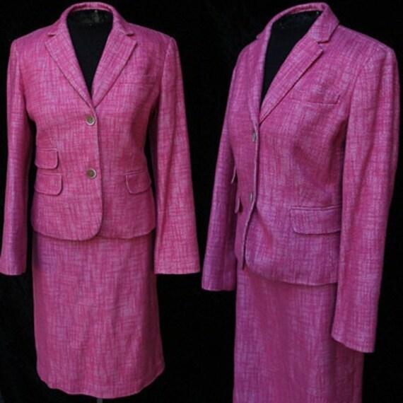 Vintage 90s Pink Wool Talbot's Women's Suit Jacket Peplum Skirt Petit