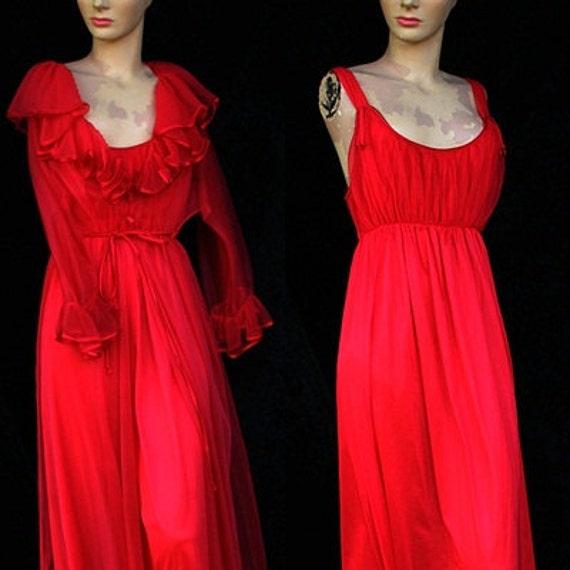 Vintage 60s 70s Red Sexy Movie Star Goddess Hollywood Double Nylon Chiffon Crystal Pleats Peignoir Nightgown Wedding Robe