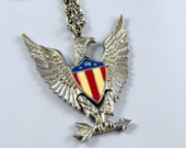 Vintage Patriotic Articulated EAGLE  Necklace Red White Blue