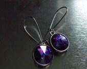 Purple Sapphire Earrings Twilight Earrings Swarovski Crystal Heliotrope Vintage Style