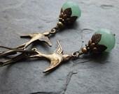Green Aventurine Swallow Earrings,  Vintage Style Antique Brass Bird Earrings, Nature Lover, Bird Watcher