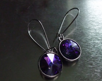 Purple Sapphire Earrings Twilight Earrings Swarovski Crystal Heliotrope Vintage Style