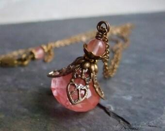 Cherry Quartz Necklace Strawberry Quartz Pendant Vintage Style Antique Brass