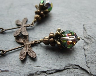 Dragonfly Earrings Blue Green Crystal Swarovski Antique Brass Vintaj Shimmering Dragonflies