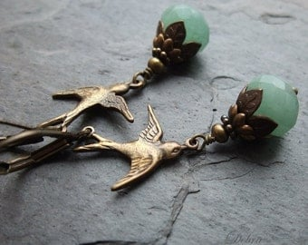 Green Aventurine Swallow Earrings,  Vintage Style Antique Brass Bird Earrings, Nature Lover, Bird Watcher