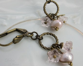 Pink Freshwater Pearl Earrings Czech Glass Flower Vintage Style Antique Brass
