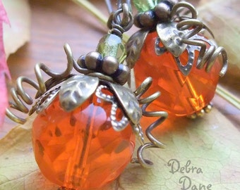 Pumpkin Earrings Orange Pumpkin Earrings Antiqued Brass Vintage Style