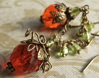Pumpkin Earrings Orange Pumpkin Earrings Pumpkin Vine Earrings