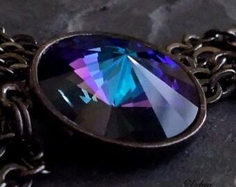 Purple Sapphire Necklace Pendant Swarovski Crystal Heliotrope Blue Vintage Style Gunmetal Chain Twilight  Crystal Pendant Necklace