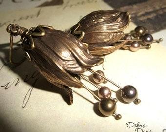 Brass Flower Earrings Pearl Earrings Tulip Vintage Style