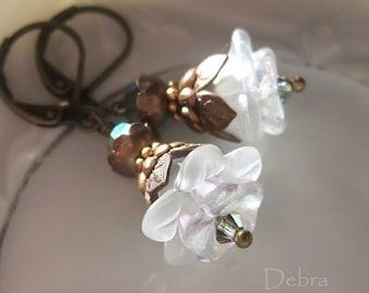 White Flower Earrings Jasmine Blossoms Vintage Style Victorian Romantic