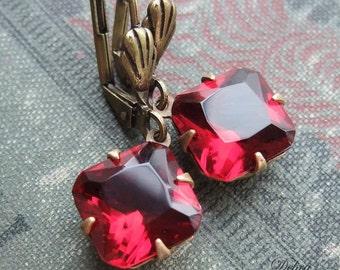 Red Estate Style Earrings, Hollywood Glam, Ruby Earrings