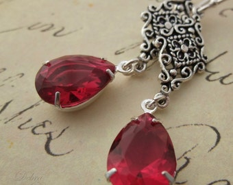 Ruby Red Glass Teardrop Jewel Earrings, Sterling Silver, Hollywood Glam, Estate Style, Rose Red Teardrop Earrings