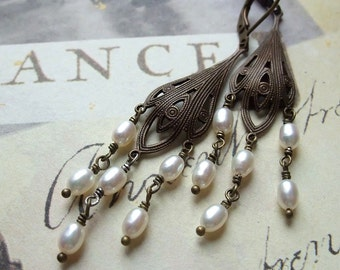 White Fresh Water Pearl Chandelier Earrings, White Freshwater Pearl Earrings, Vintage Style