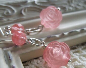 Pink Rose Earrings, Pink Flower Earrings, Sterling Silver Earwires, Bridal Jewelry, Bridal Earrings