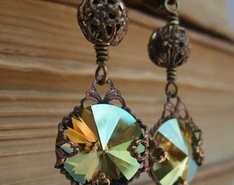 Olive Crystal Earrings Olive earrings vintage style antique brass filigree