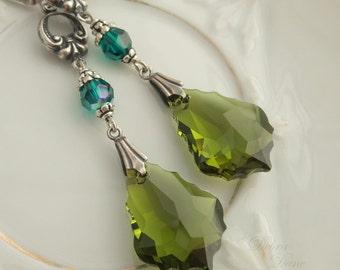 Olive Swarovski Crystal Earrings Baroque Crystal Antique Sterling Silver