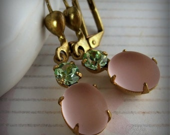 Vintage Pink Earrings Peach Frosted Glass Earrings Green Rhinestone Springtime Fashion