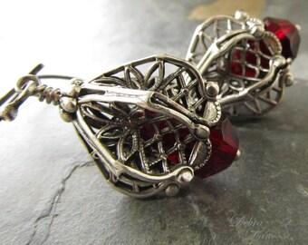 Blood Red Earrings, Garnet Earrings, Sterling Silver, Miniature Lanterns, Renaissance