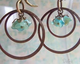 Hoop Earrings, Turquoise Flower Earrings, Hammered Brass Hoop Earrings, Antique Brass Hoop Earrings