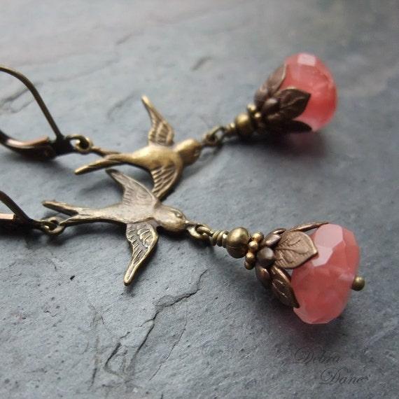 Cherry Quartz Earrings Bird Swallow Huckleberry Salmon Pink Antique Brass