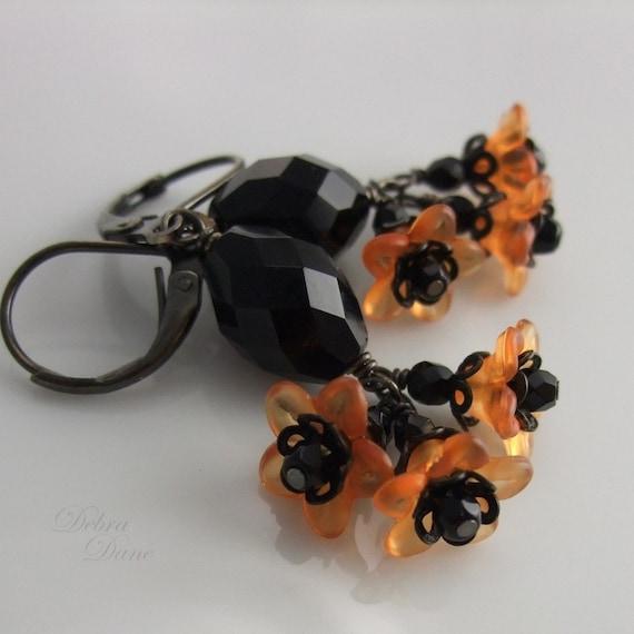 Halloween Earrings Orange Flower Black Crystal Trick or Treat