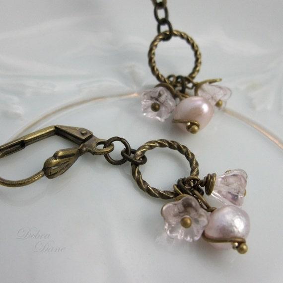 Pink Freshwater Pearl Earrings Czech Glass Flower Vintage Style Antique Brass