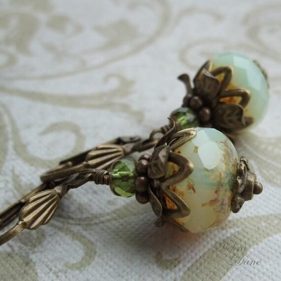 Moss Green Earrings Earthy Organic Woodsy Natural Pearl Onion Earrings Sea Onion Earrings