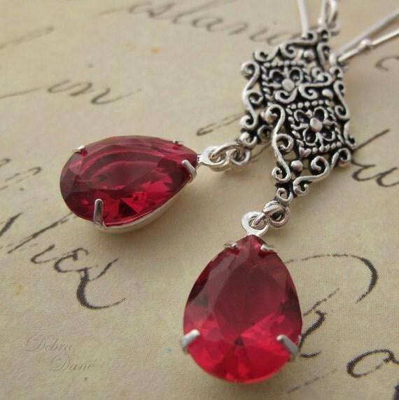 Ruby Red Glass Teardrop Jewel Earrings, Sterling Silver, Hollywood Glam, Estate Style, Rose Red Teardrop Earrings