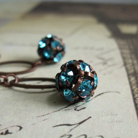 Aqua Crystal Earrings Aquamarine Rhinestone Ball Crystal Ball Copper Earrings