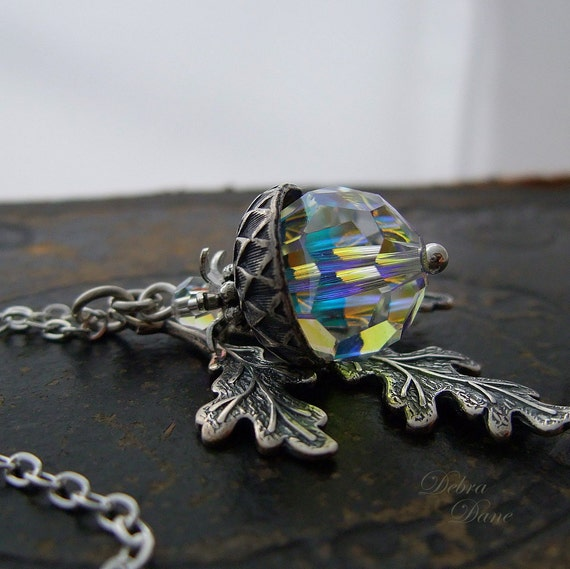 Acorn Pendant, Acorn Jewelry, Crystal Acorn, Crystal Jewelry, Acorn Necklace, Sterling Silver Chain