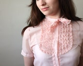 RESERVED 1950's pink ladyslipper lace blouse