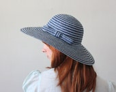vintage 1960's blue stripe straw hat