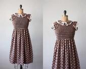 vintage 1960's smocked folk print dress