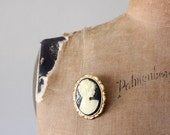 RESERVED 1970's black cameo brooch