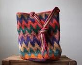 vintage ikat bag - southwestern bucket satchel