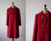 vintage 1960's peacoat - cranberry red double button jacket