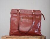leather bag - vintage 1970's leather shoulder satchel
