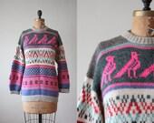 bird sweater - vintage 1970's slouchy bird pullover