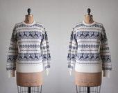deer sweater - vintage 1970's deer print sweater